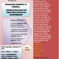 UPCOMING EVENT: MEADOW HALL TEACHERS TRAINING-ENGAGING PARENTS IN SCHOOL: INNOVATIVE WAYS OF CREATING EFFECTIVE PARTNERSHIP, Saturday, October 5th, 2013