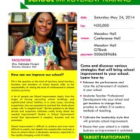 UPCOMING EVENT: SCHOOL IMPROVEMENT TRAINING FOR SCHOOL OWNERS, TEACHERS - by Meadow Hall, DATE: 24TH MAY, 2014