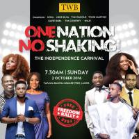 The Independence Carnival! Theme: One Nation, No Shaking! Featuring: Vice President of Nigeria, Yemi Osinbajo, Joke Silva, Waje and more, Venue: TBS Lagos, Date: 2nd Oct., 2016, Time: 7:30am, Gate: FREE!!!